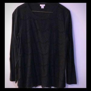 J Crew Black Lace Long Sleeve Size L T